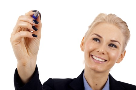 Business woman writing something with a blue marker  Stock Photo - 7058920