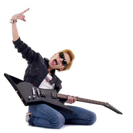 rockstar: Punk Rockstar holding a guitar isolated in white  Stock Photo