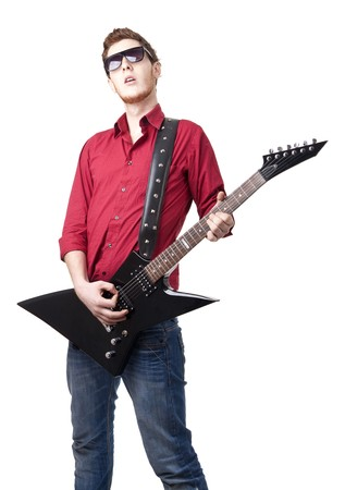Portrait of young musician holding electric guitar - isolated  Stock Photo - 7059087