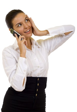 picture of a surprised woman talking on a mobile phone photo