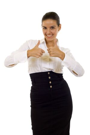 Business woman With Thumbs Up over white photo