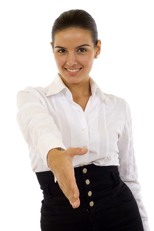 Businesswoman giving hand for handshake, isolated on white  Stock Photo - 7131944
