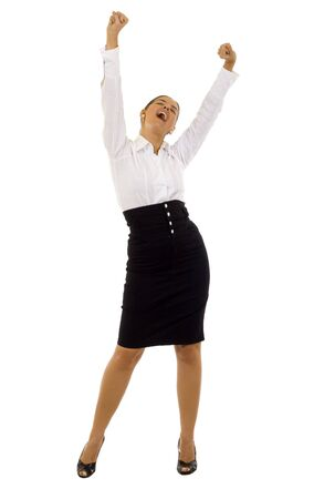 people celebrating: Pretty joyous business woman celebrating success over white background