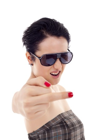 obscene: andgry young woman making a middle finger gesture Stock Photo