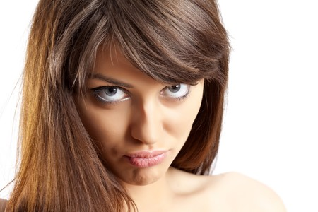 closeup picture of a woman making a funny face Stock Photo - 7132233