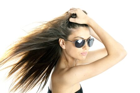 portrait of a beautiful woman with long hair wearing sunglasses Stock Photo - 7132215