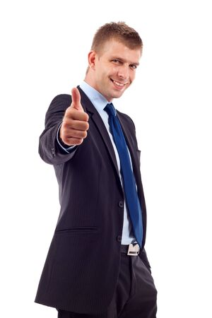Happy businessman with thumbs up gesture, isolated on white  Stock Photo - 7226763