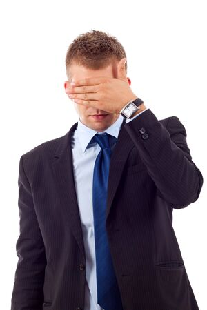 businessman making the see no evil gesture over white Stock Photo - 7226895
