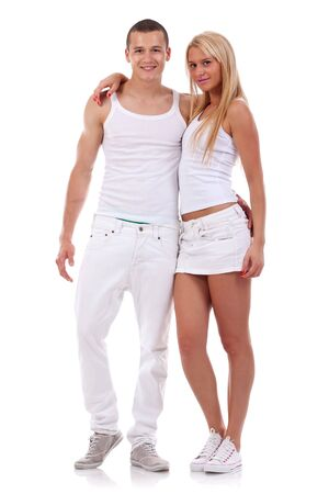 Sexy young couple wearing white clothes in the studio Stock Photo - 7226591