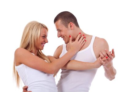 Portrait of a two sexuality beautiful lovers posing at studio  Stock Photo - 7226811