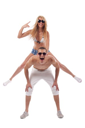 young couple having fun over white background Stock Photo - 7226606