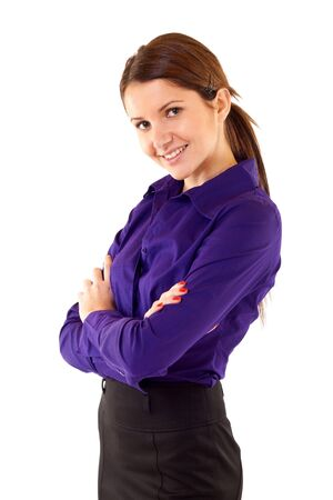 mains crois�es: Positive business woman smiling over white background , standing with hands crossed
