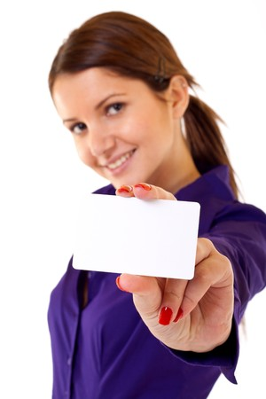 businesswoman showing her business card - isolated over a white background Stock Photo - 7226614