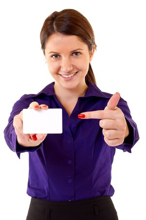 Portrait of businesswoman in suit holding her visiting card  Stock Photo - 7226618