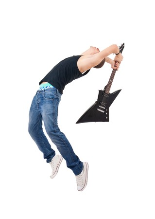 studio shot picture on isolated background of a angry man holding a guitar and trying to break it  photo