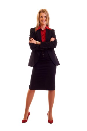 businesswoman skirt: Attractive young blond businesswoman isolated on white background