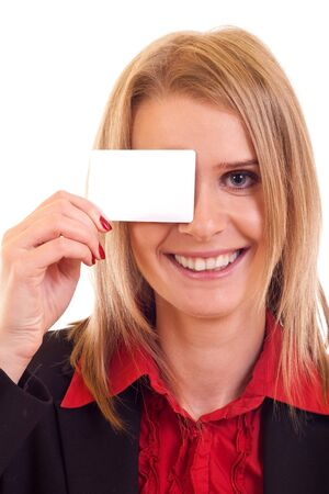young business woman holding blank card over her eye Stock Photo - 7354398