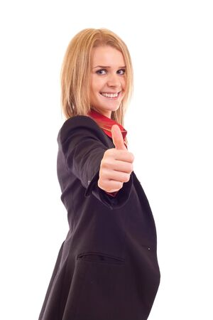 Business woman giving thumbs up isolated on white white background  Stock Photo - 7354369