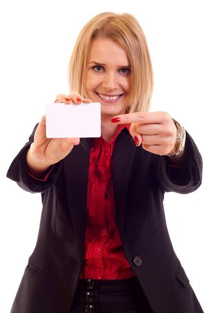 Portrait of business woman in suit holding her visiting card Stock Photo - 7354378