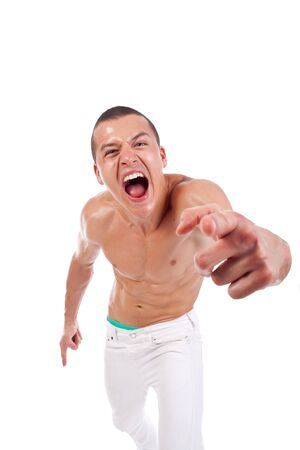 Scream of muscular sexy man over white background Stock Photo - 7369307