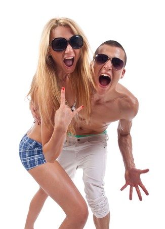 rave: party couple screaming against a white background