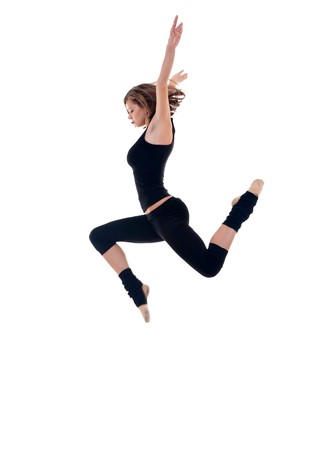 dancers: a modern dancer dressed in black making a high jump Stock Photo