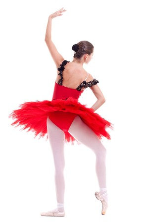 back picture of a ballerina in a ballet position over white