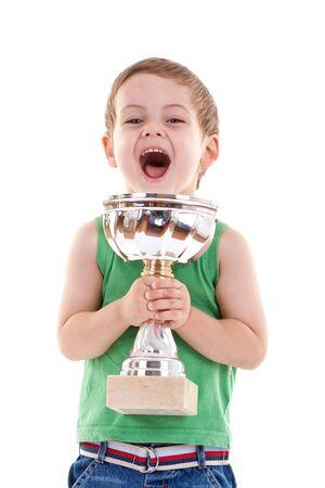 premi: immagine di un piccolo bambino che vincere un trofeo, over white