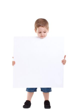 Young boy lifting his head out of the blank board on isolated background Stock Photo - 7369268
