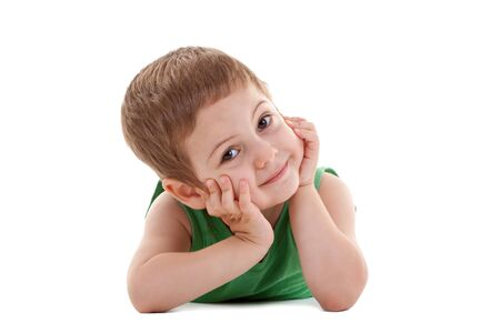 picture of a kid laying down and holding his head in his palms, over white Stock Photo - 7369330