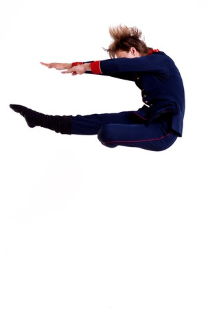 othello: ballet man jumping, pose from Shakespeares Othello