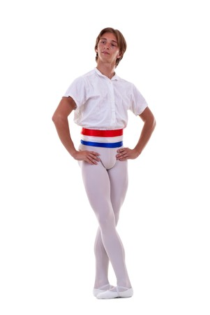 posing for the camera - young male ballet dancer on a white background Stock Photo - 7564652