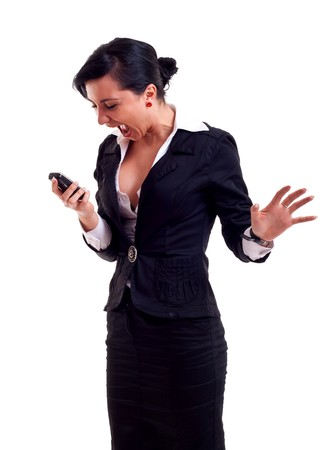 Angry business woman shouting to a mobile. Isolated on white  photo