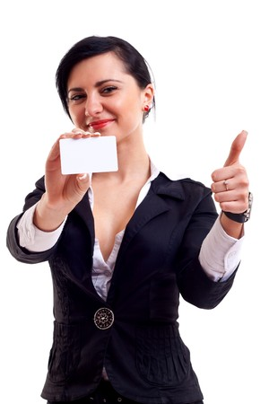 hand business card: Femmina holding biglietto vuoto, rendendo ok sign, messa a fuoco sulle mani e carta