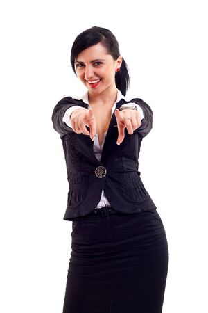 young beautiful business woman pointing on you on white background Stock Photo - 7564680
