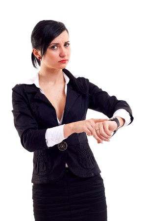 watch over: angry business woman pointing her watch over white