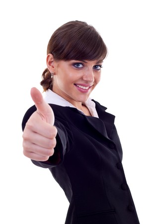 Business woman giving thumbs up isolated on white white background  photo