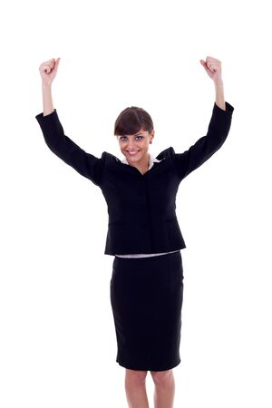 young business woman winning isolated on white background Stock Photo - 7574500