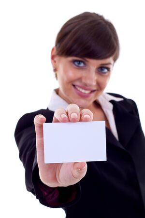 Attractive Business woman Closeup - presenting her business card Stock Photo - 7574576