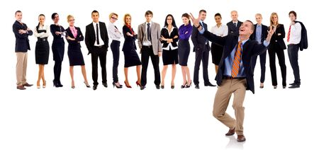 professionals: Group of successful business people, with a winning leader