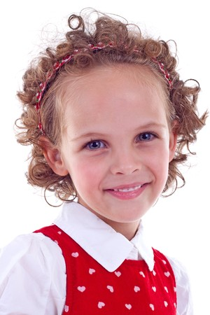 Close-up portrait of a cute little girl.  Isolated on white background. Stock Photo - 7735646
