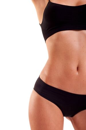 perfect female body: Perfect female body isolated on white. Healthy eating and sport concept