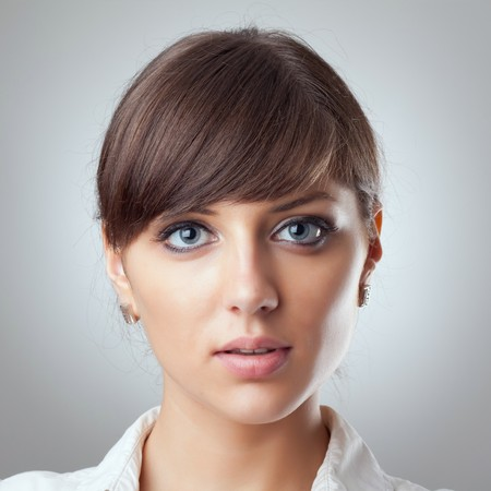 beautiful girl face: closeup picture of a beautiful business womans face