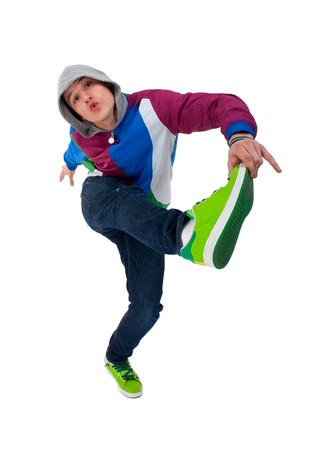picture of a cool dancer holding one leg with his hand Stock Photo - 7735476