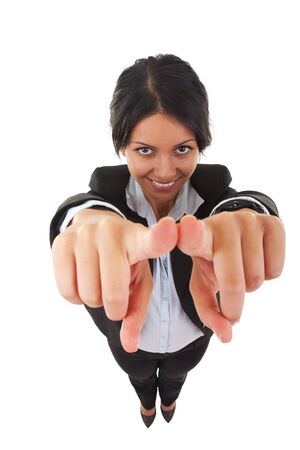 wide angle picture of an attractive business woman pointing at you Stock Photo - 7735759