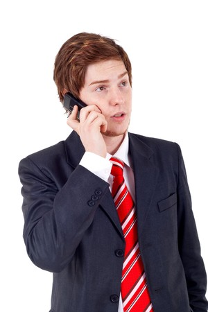 Business man making a phone call over white Stock Photo - 7735869
