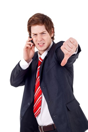 Business man with bad news on his cell phone disapproving  Stock Photo - 7735849
