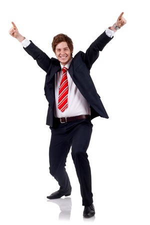 business news: Very happy successful gesturing business man, isolated on white