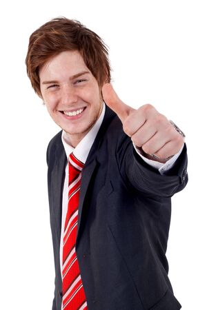 Happy business man with thumbs up gesture, isolated on white  Stock Photo - 7735833