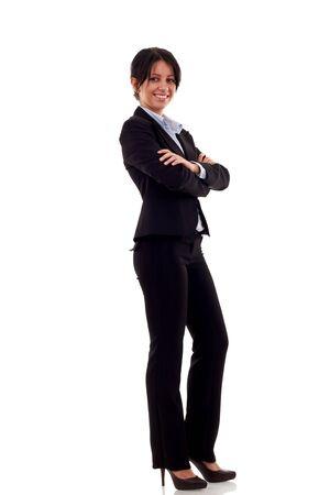 Mujer de negocios Morena de pie, retrato de cuerpo completo, aislado en blanco